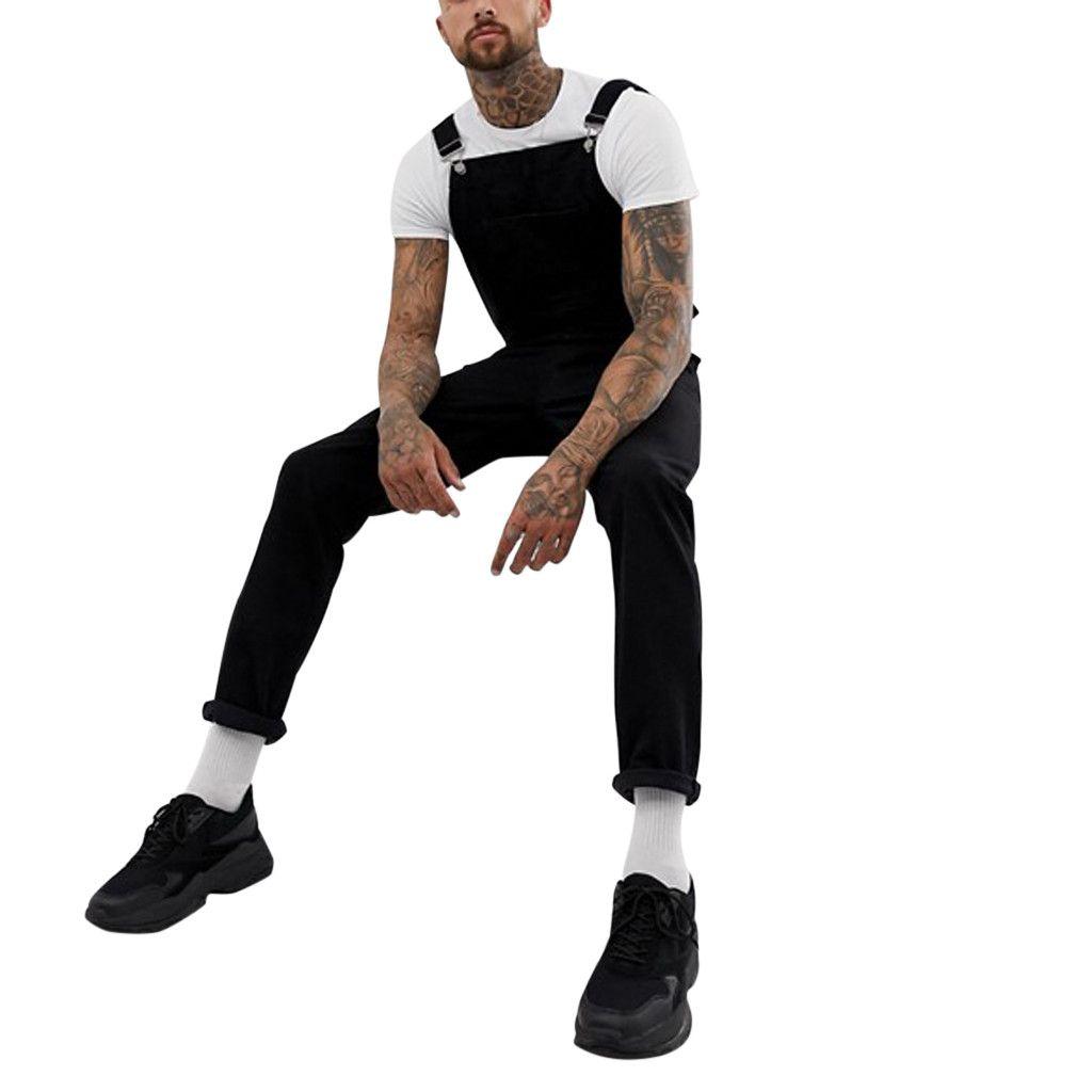 New Men Pocket Jeans Overall Jumpsuit Streetwear Overall Suspender Pants S-3XL skinny jeans men hombre vaqueros hombre