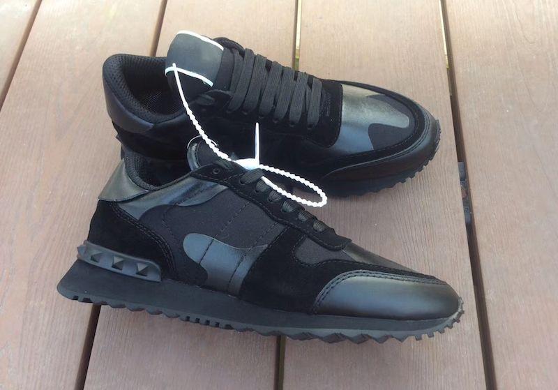 Valentino shoes Neue Schuhe Rockrunner Camouflage Noir Stoff Nappa sneaker echtes Ledermens-Frauen-Ebene-Trainer