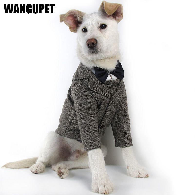 WANGUPET Sack Suit шерстяное пальто и жилет собак Одежда свадьба Костюмы для маленьких собак и Cat Pet Одежда собак Coat Pet костюм