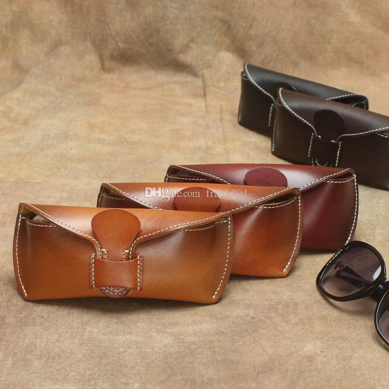 정품 가죽 아이 안경 케이스 빈티지 수제 하드 아이웨어 액세서리 선글라스 케이스 럭셔리 안경 박스 가방 여성