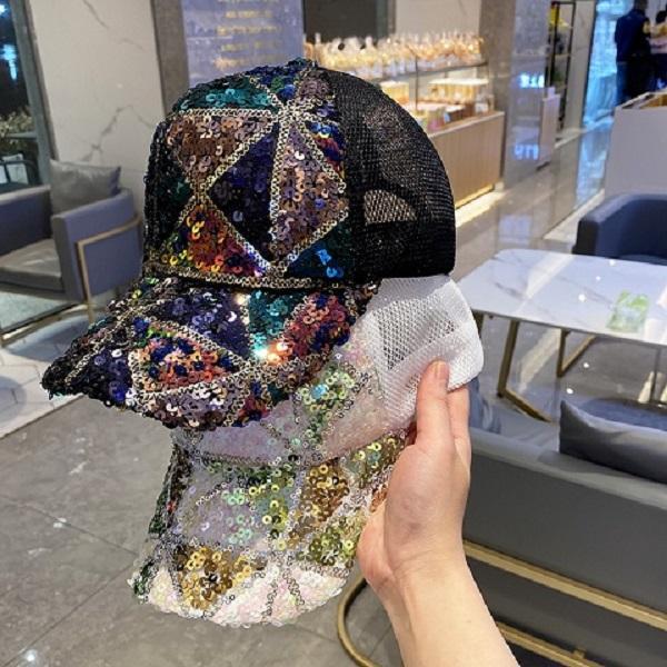 Nuovo modo scintillante paillettes estivi berretto berretti da baseball filato traspirante cappelli per giovani donne della signora Girls