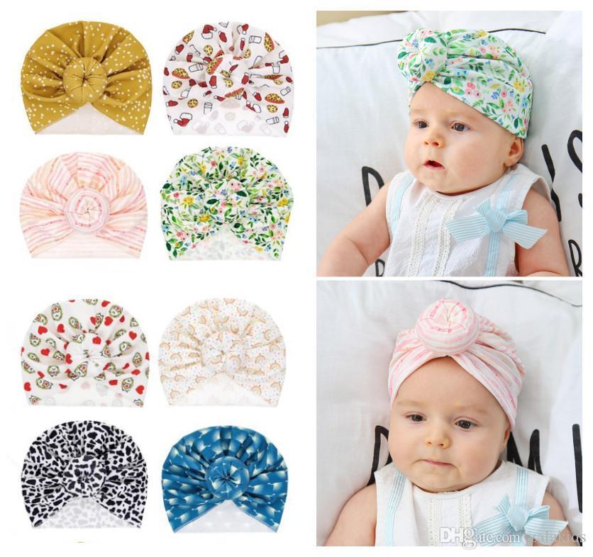 8 stili svegli infantili ciambella nodo indiano Turbante scherza la protezione delle fasce protezioni del bambino floreale Cappello solido cotone morbido Hairband Cappelli