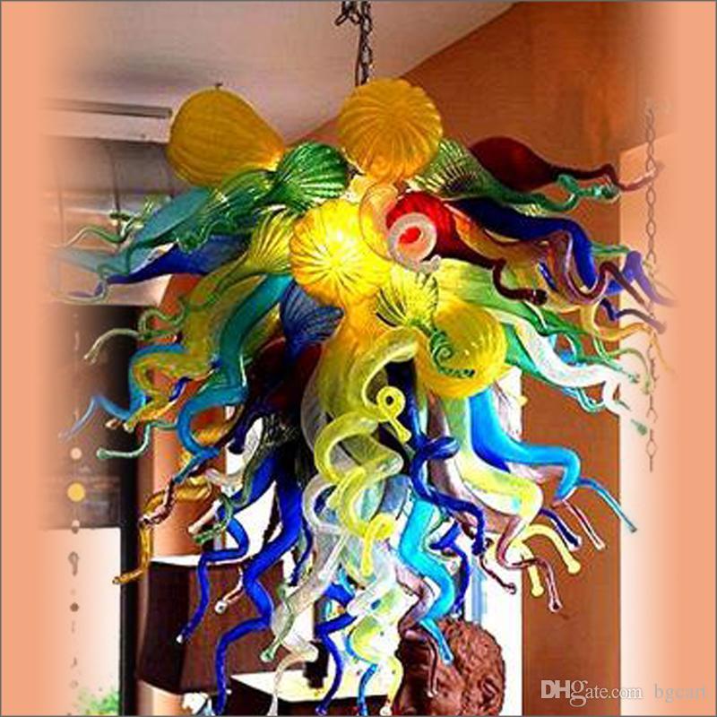 Turco estilo arte decoración lámparas lámparas moderno cristal LED CA superior diseño coloreado hechos a mano araña de cristal asombroso decorativo