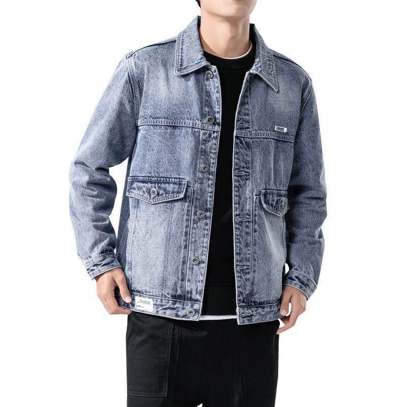 2020 Denim Homme Veste Homme Manteau bleu clair Casual adolescents Veste en denim de coton à col Turn-Bomber Vestes manches longues