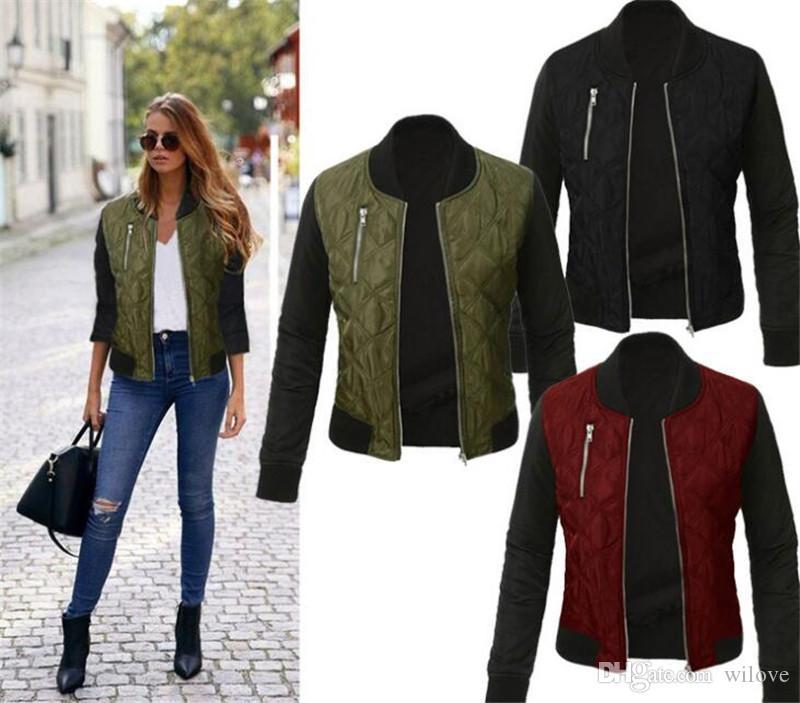 Nueva venta al por mayor ocasional de la chaqueta de manga larga Mujeres Otoño Coats Básica La nueva capa de invierno espesa el bombardero chaquetas Outwear
