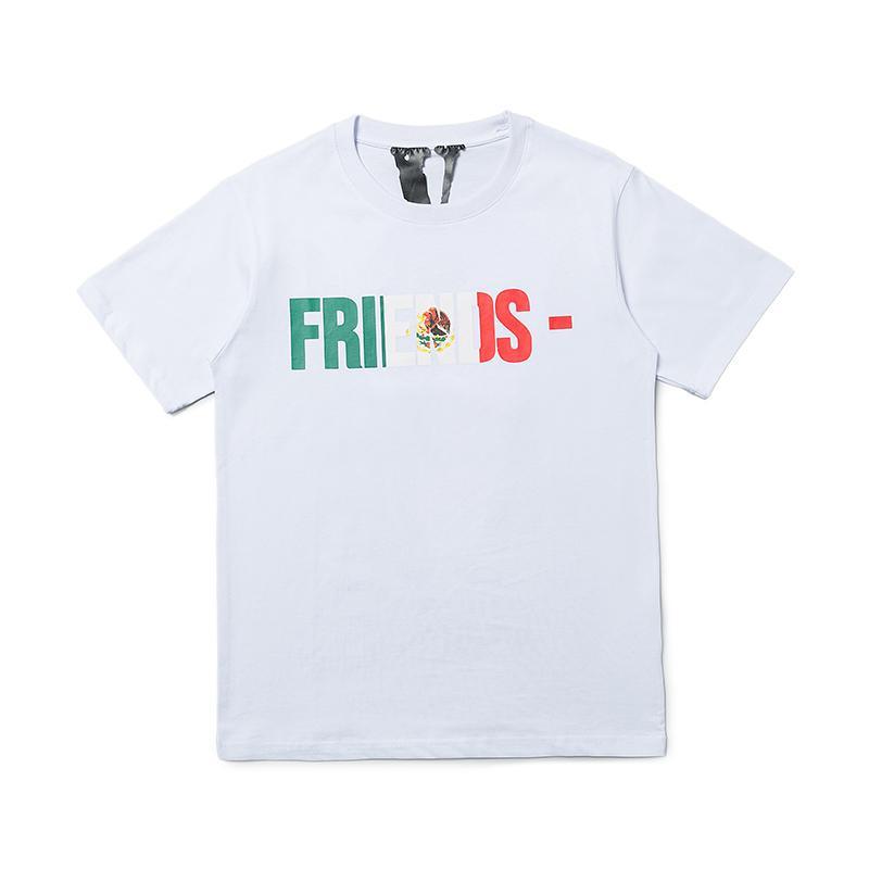 Vlone T Shirt Мужчины Женщины высокого качества Hip Hop Футболка Vlone Письмо Printed Мужские Стилисты тенниски тройников Размер S-XL
