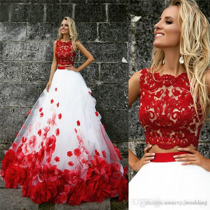 2018 Lace A Line Red and White Long Prom Dresses two pieces Flowers Sleeveless Tulle Evening Gowns Miss Beauty Pageant Dresses Plus Size