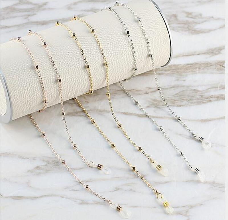 Oturum moda alaşım inci şekil zincir 75cm kaymaz gözlüğü readingglasses zincir halat boyun kordonu tutucu silikon döngü gümüş, altın