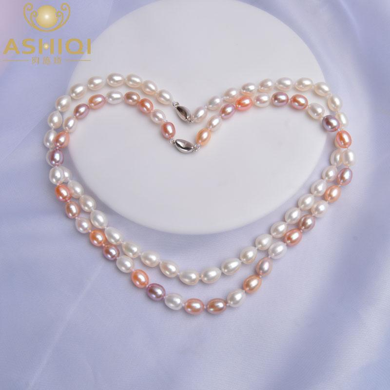 ASHIQI 8-9mm Natural Freshwater Pearl Necklaces 925 Sterling silver For women Wedding Vintage Jewelry XL8922