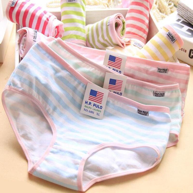 algodão menina adolescente underwear Ladies cintura alta abdômen plus size cuecas estudante LINGERIE 8-18 anos
