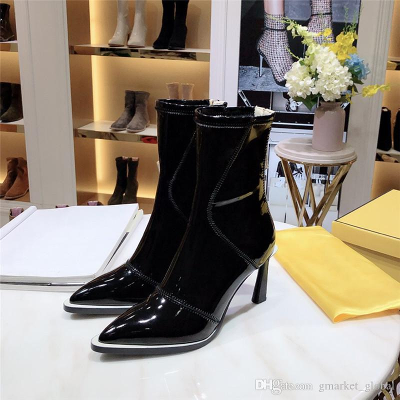 New Women Ankle Boots Glossy neoprene ankle boots gray red black pointed womens leather boots fashion designer shoes heel 8.5CM with box