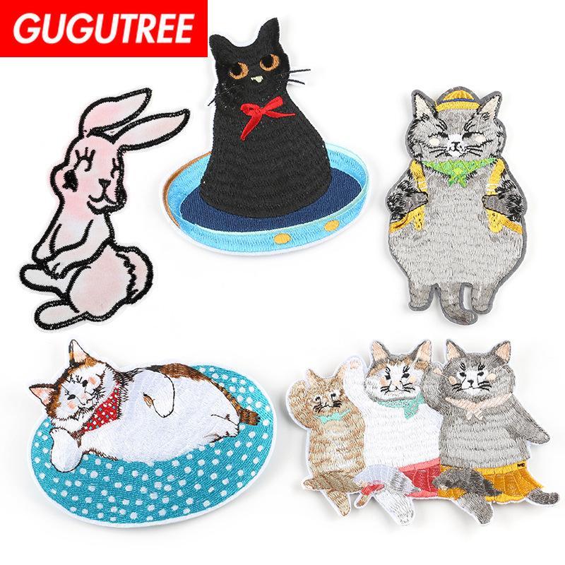 gros chats lapin timbre patches animaux badges de GUGUTREE patches pour les vêtements DK Appliqué-117
