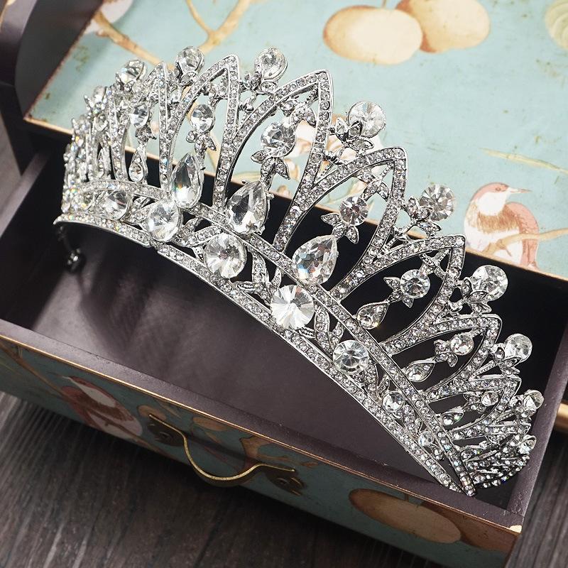 Vintage baroque strass Tiaras Couronne Mode Argent Brillant Cristal Couronnes pour la mariée Bandeaux de mariage Accessoires de cheveux