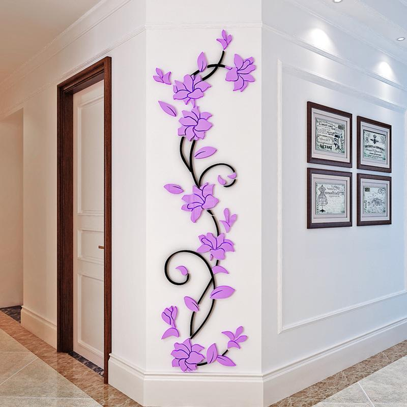 Wholesale 1 PCS Size S 24cm*80cm DIY 3D Acrylic Rose Flower Wall Stickers Removable Wall Decal Home Decoration Mural Art