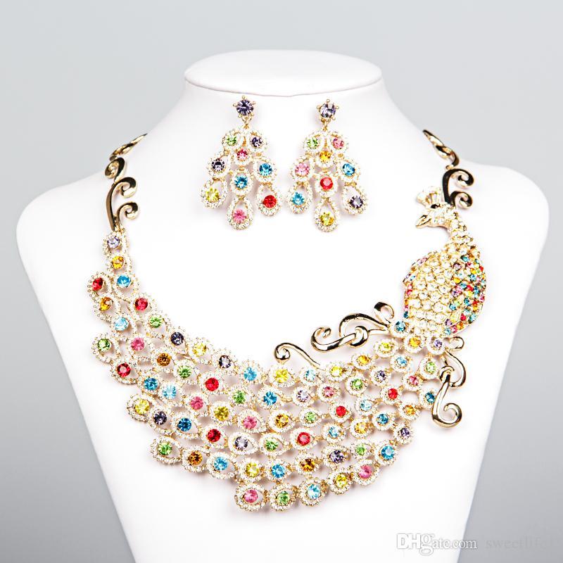 2020 Luxe Phoenix Accessoires de mariage strass Collier mariée Boucles d'oreilles Parures Colliers colorés de mariée pas cher 15092