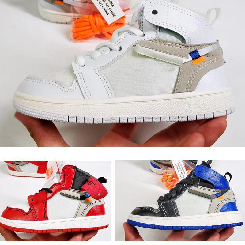 2020 Совместно Подписан High OG 1S обуви Детского баскетбола Чикаго 1 Младенец мальчик девочка Sneaker Малыши новорожденных Кроссовки Обувь детская