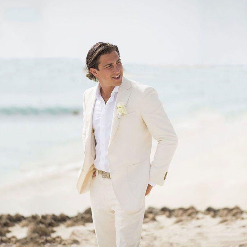 Yaz Plaj Fildişi Keten Erkekler Damat Özel Damat Kıyafet Slim Fit Casual Smokin Sağdıç Blazer Ceket + Pantolon Wear Takımlar Wedding Suits