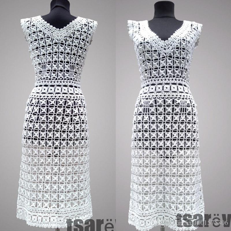 Вязаное платье тирамису. Белое летнее женское платье ручной работы из органического хлопка. На заказ