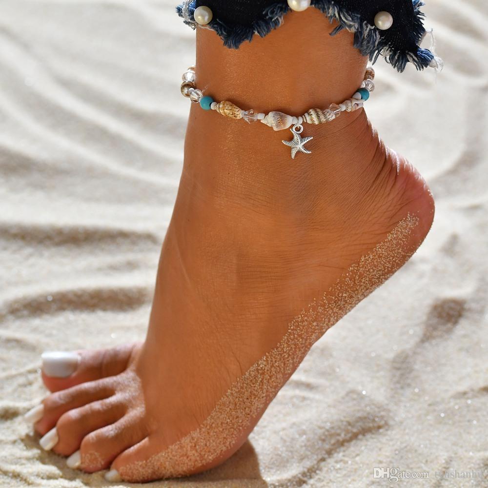 여자를위한 보헤미안 불가사리 펜던트 Anklets 빈티지 레트로 밧줄 껍질 Anklet Beach 팔찌 체인 Foot Jewelry BB119