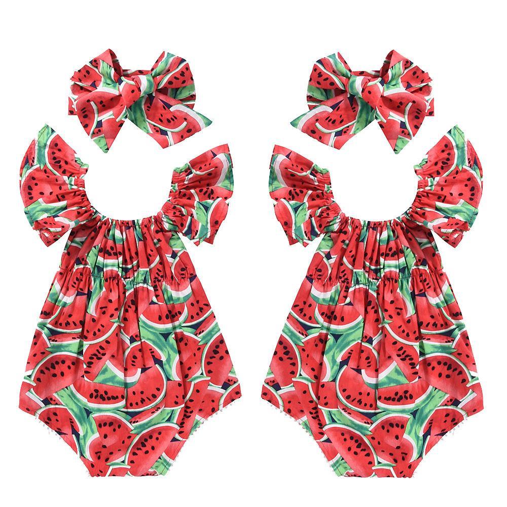 2ST Mode Säuglingsbaby-Kind-Baumwolle Fry Sleeve Wassermelone-Sommer Spielanzug-Overall Playsuit + Stirnband Sommer-Kleidung Sets