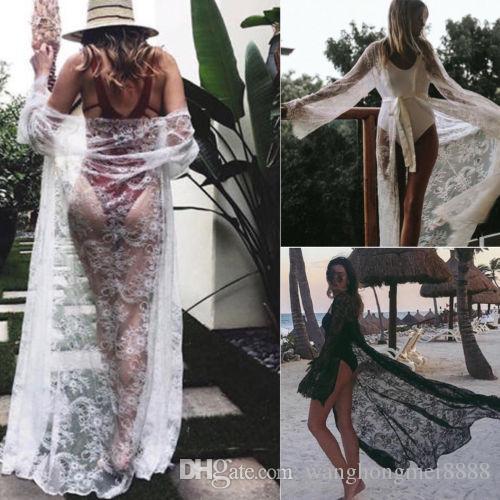 Sexy Ladies Women Bikini Lace Cover up Beach Dress Swimwear Chiffon Beachwear Bathing Suit Summer Holiday Kimono Cardigan