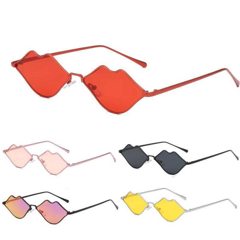 여성 섹시한 입술 미러 선글라스 레드 프레임 여성 브랜드 디자이너 귀여운 고양이 눈 작은 태양 안경 빈티지 고글 안경 선글라스 UV400
