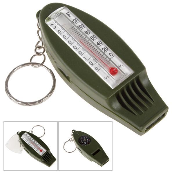 4-в-1 открытый многофункциональный свисток выживания + компас + увеличительное стекло + термометр для кемпинга с кольцом для ключей