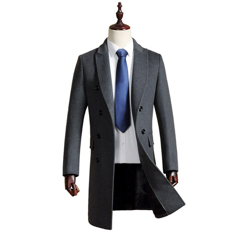Man Wool Jacket Long High Quality Formal Business Grey Double Breasted Button Male Trench Pockets Overcoat Warm Men Woolen Coat