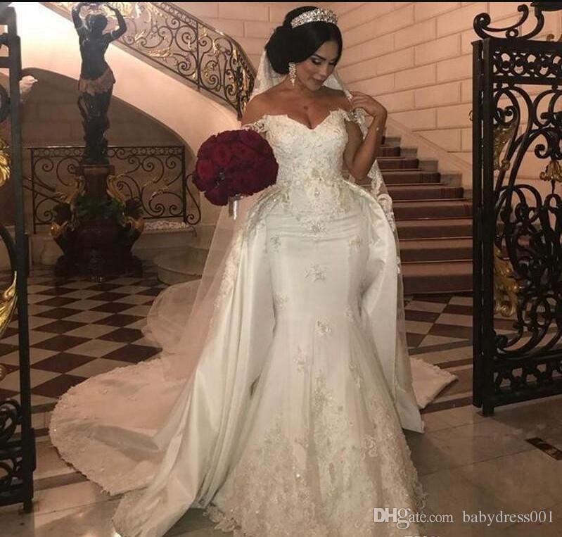 Africano Superiores Saias Vestidos de Casamento Plus Size Apliques de Renda Fora Do Ombro Sereia Vestido De Noiva Contas Lantejoulas Plus Size Vestidos De Noiva