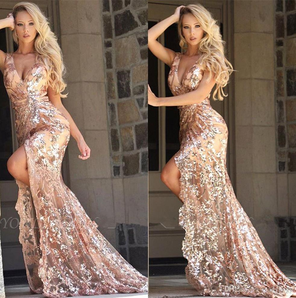 Sparkly Lace Sequins High Low Evening Formal Dresses 2020 Sexy V-neck Slit Junior Occasion Prom Pageant Dress