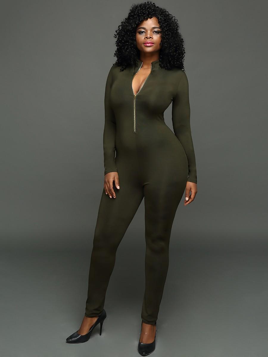 Sexy profundo decote em V Zipper Bodycon Jumpsuit Romper Partido Verde Mulheres Jumpsuit Casual Macacões Bodysuit S-XL