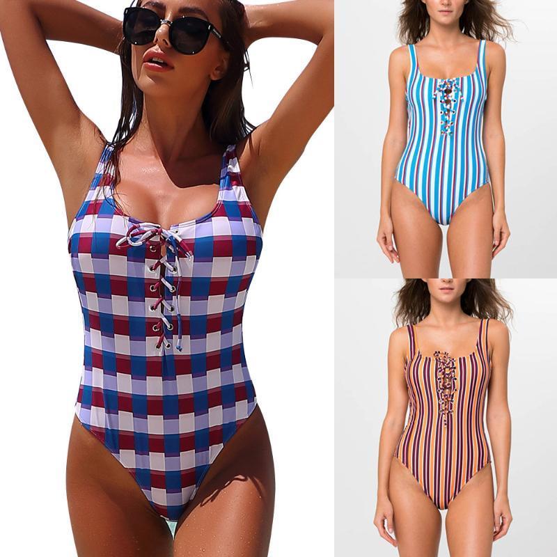 섹시한 등이없는, 인쇄 어깨 수영복, 여자의 비키니, 비치 수영복 2020 년 수영복