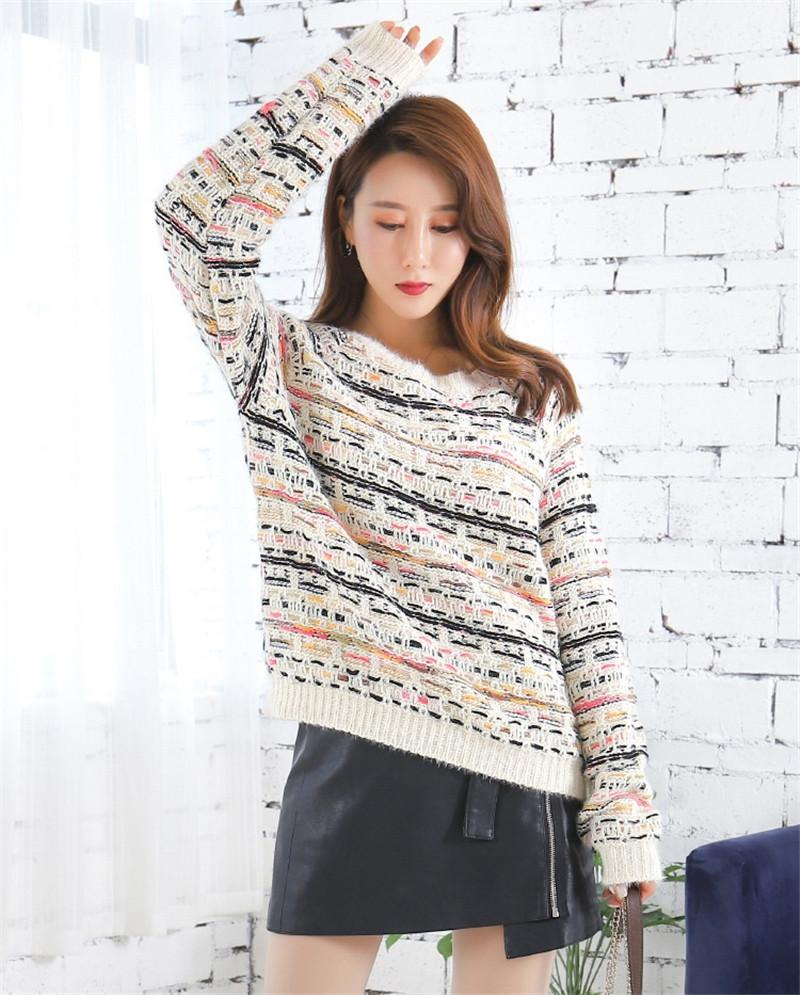 2019 Casual Sweet Women Knitted Sweaters and Pulloveres Runway Striped Long Sleeve Winter Christmas Sweaters Jumper Clothes
