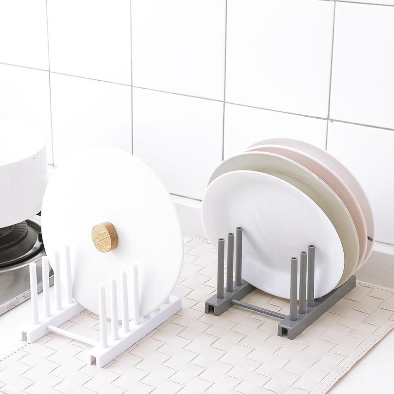 Cocina de alta calidad Material de almacenamiento del estante del sostenedor desagüe de la cocina Bastidores de plástico blanco de titular tapa de la placa de almacenamiento organizadores