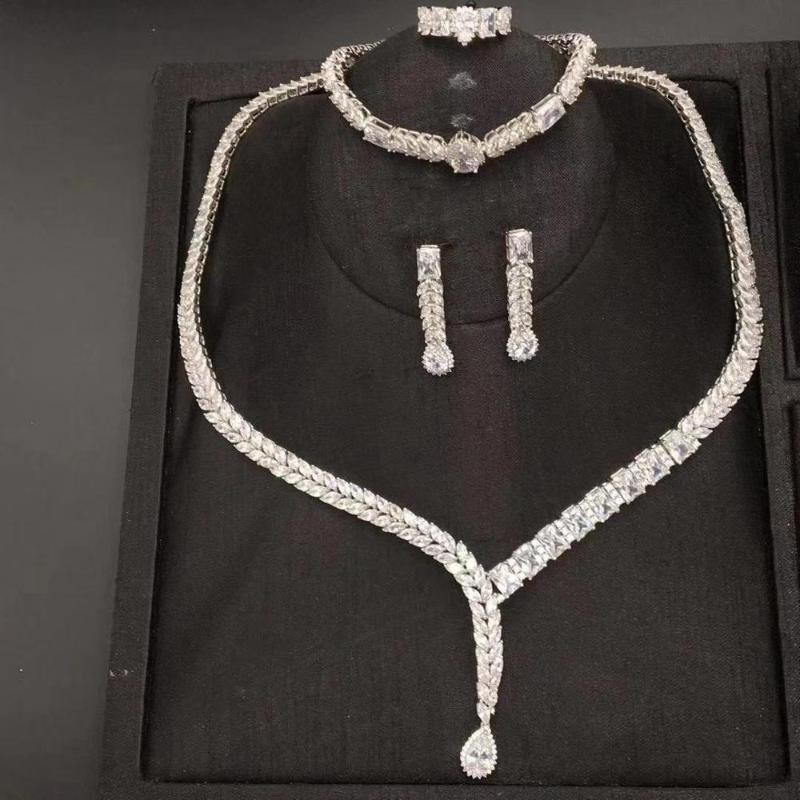 jankelly sterlingersliver 925 sistemas de la joyería nupcial zirconia para las mujeres del partido, Dubai Nigeria CZcrystal sistemas de la joyería de la boda de lujo