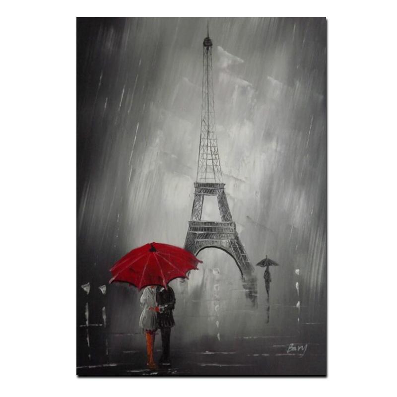 Paraguas De Torre Eiffel Rojo Lienzo Enmarcado París Pared Arte Retrato de impresión