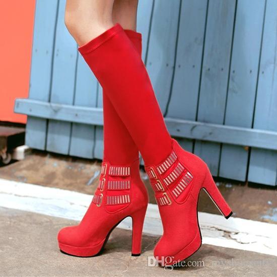 Diz Uyluk Yüksek Boots 11cm Üzeri Artı boyutu 33-42 43 Kırmızı Siyah Karışık Renkli Platformu Kalın Yüksek Topuk