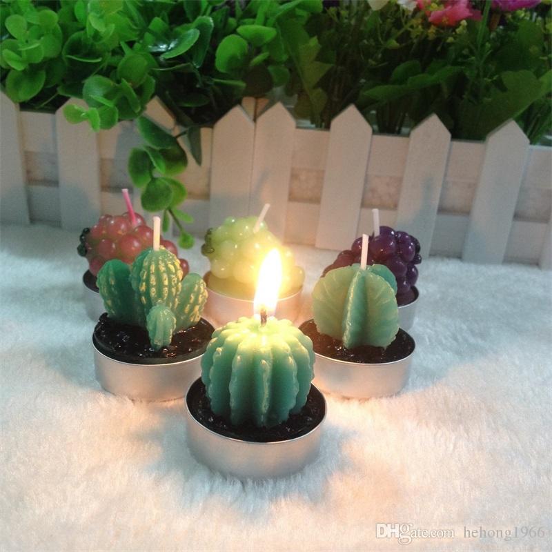Yeni Creative Cactus Şekli Mum Kokulu Noel Süsleri Parti alevsiz Mum Saksı Bitki 1 3yh Sulu Bitkileri Malzemeleri