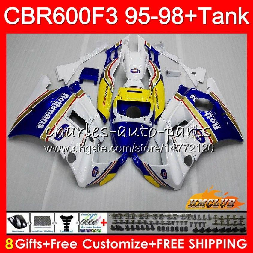 Body +Tank For HONDA CBR 600F3 600CC CBR600 F3 95 96 Rothmans Blue 97 98 41HC.10 CBR 600 FS F3 CBR600FS CBR600F3 1995 1996 1997 1998 Fairing