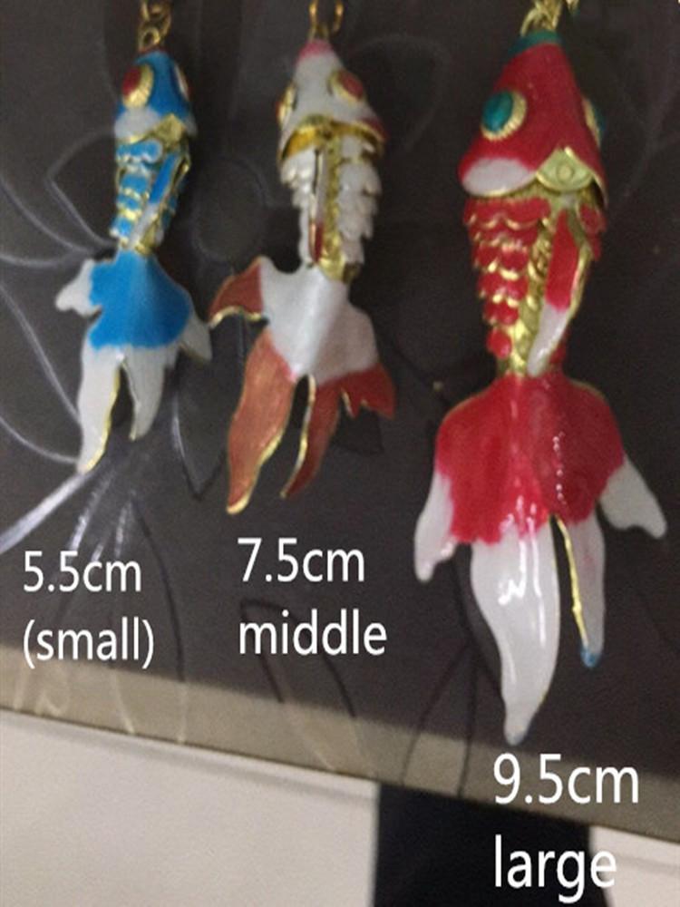 5,5 cm 7,5 cm 9,5 cm lebendige Email Swing Fish Anhänger Keychain Schlüsselanhänger mit Kastengeschenke für Frauen Männer Fancy Goldfisch Luxus Schlüssel Ketten