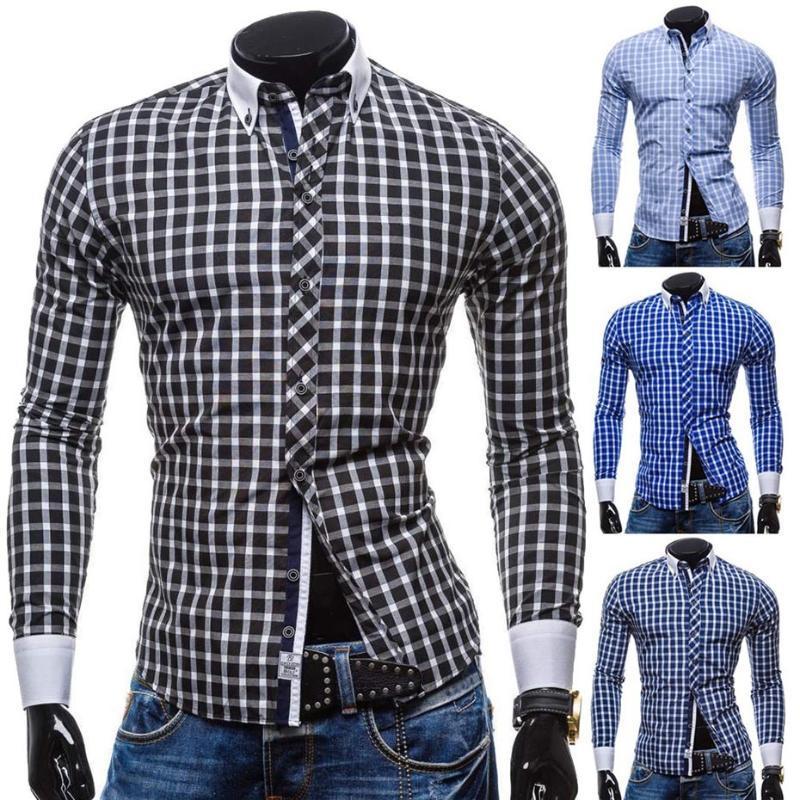 ZOGAA Chemise à carreaux à manches longues hommes de mode chic et décontracté Slim Fit Chemises hommes Button Shirts Fashion Robe Taille Plus