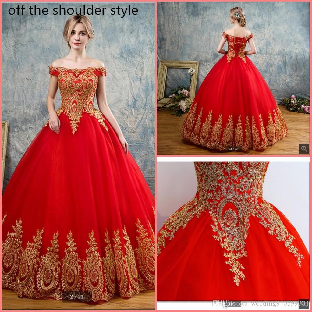 Vestidos de quinceañera rojos Tul con apliques dorados Encajes Dulce 16 Vestidos Vestidos de fiesta Vestidos de quinceañera Vestidos de 15 años debutante
