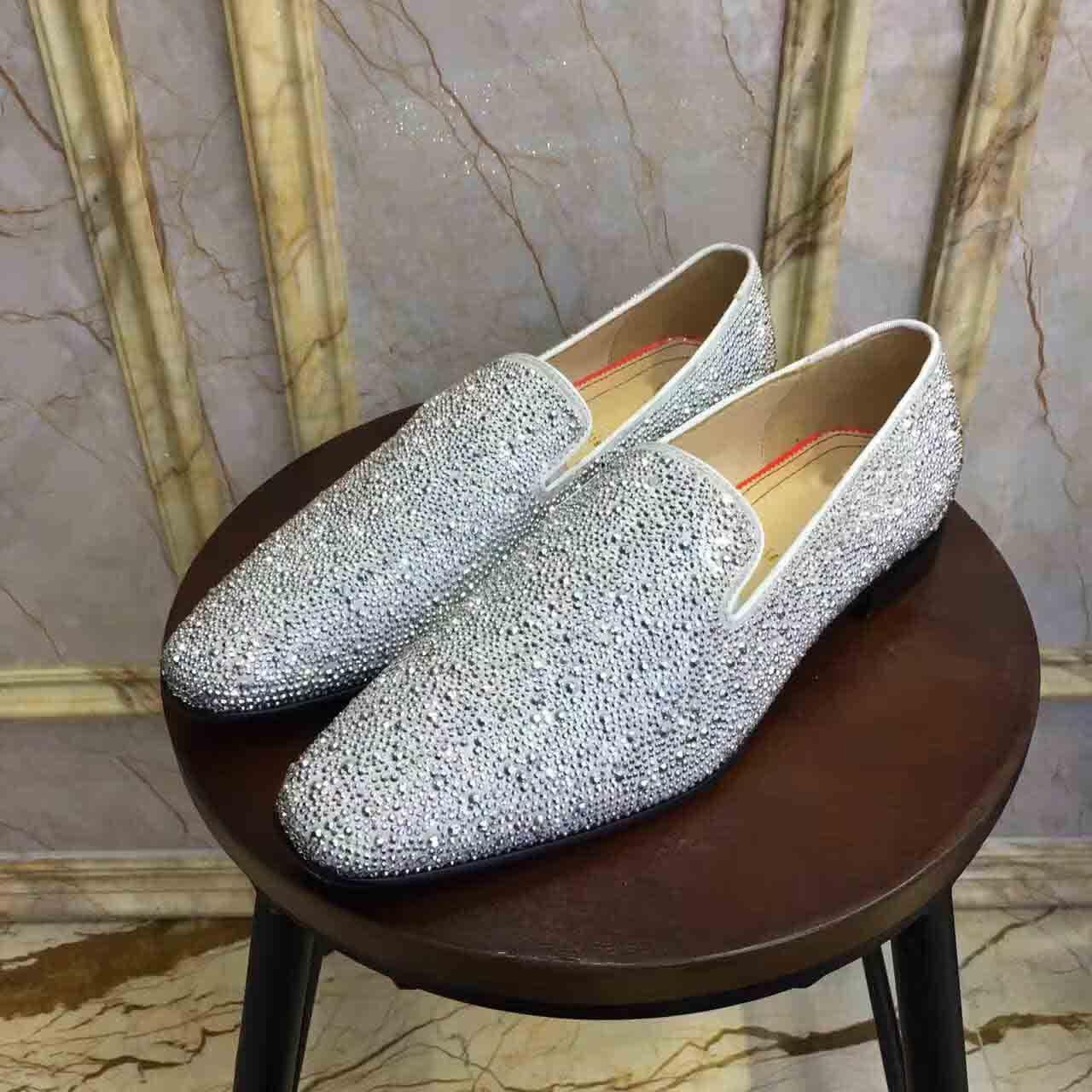 Mode Goujons Red Bottom Mocassins Hommes Flats Avec bling strass diamants Glitter Slipper chaussures robe de mariée noire en cuir véritable avec la boîte