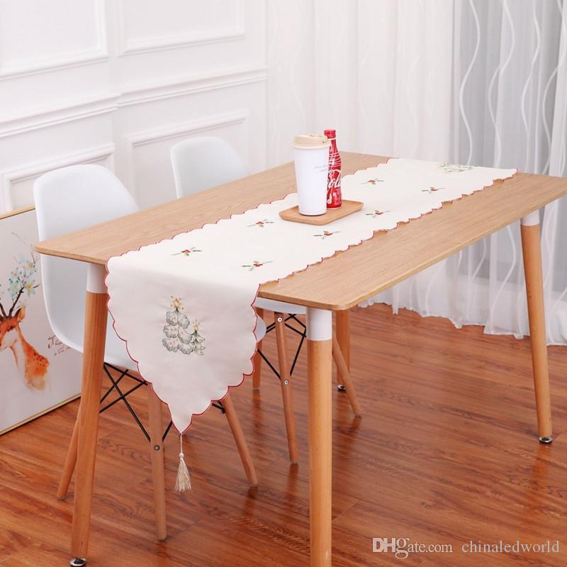 Bordado de la tabla del corredor Navidad adornos de la bandera hueca cubierta de polvo de mesa de comedor