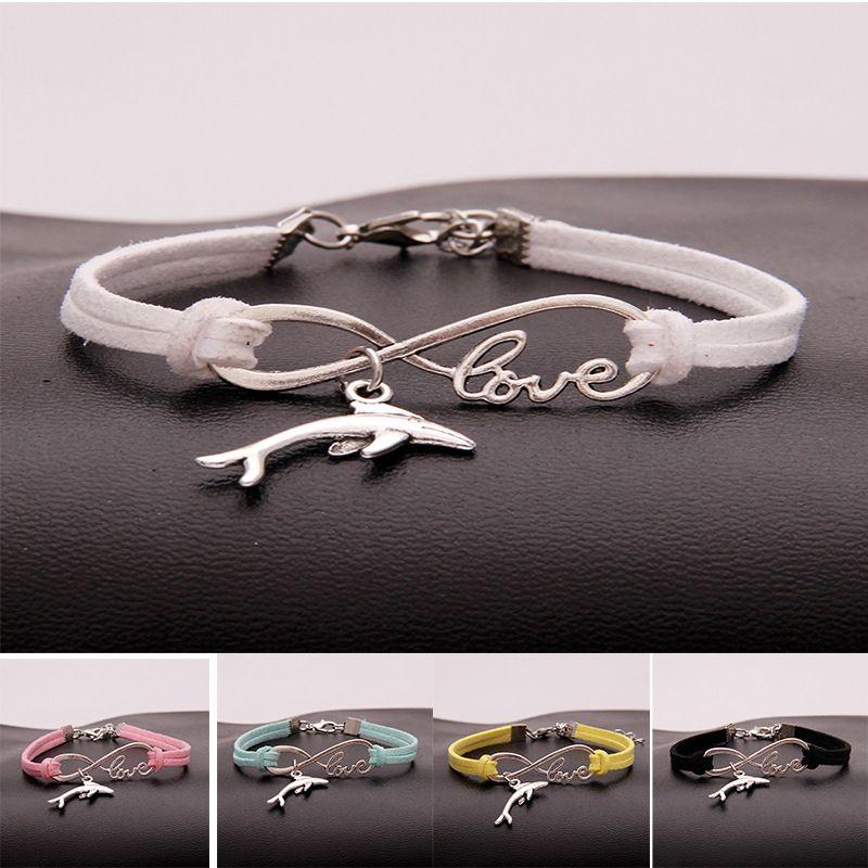 Nuovi braccialetti con ciondoli a forma di delfino di animali in metallo da donna infinito Love Velvet String Rope warp Bangle For Men s gioielli semplici alla rinfusa