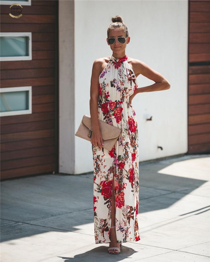 ropa de diseño de estilo Halter floja ocasional femenina floral de la fiesta de vacaciones de verano vestido de Boho del vestido maxi largo sin mangas