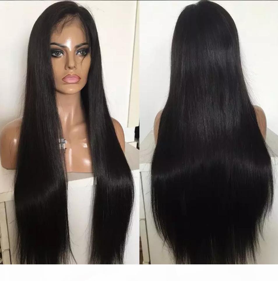 Noir Couleur Top en soie pleine dentelle de lacet de lacet de soie droite Vierge Brésilienne Human Hair Base de soie Dentelle Perruque Front Livraison Gratuite