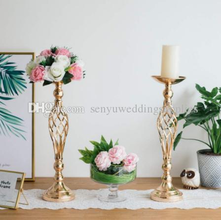 gold plating trumpet mental vase tall iron cylinder or wedding flower holder centerpieces senyu0355