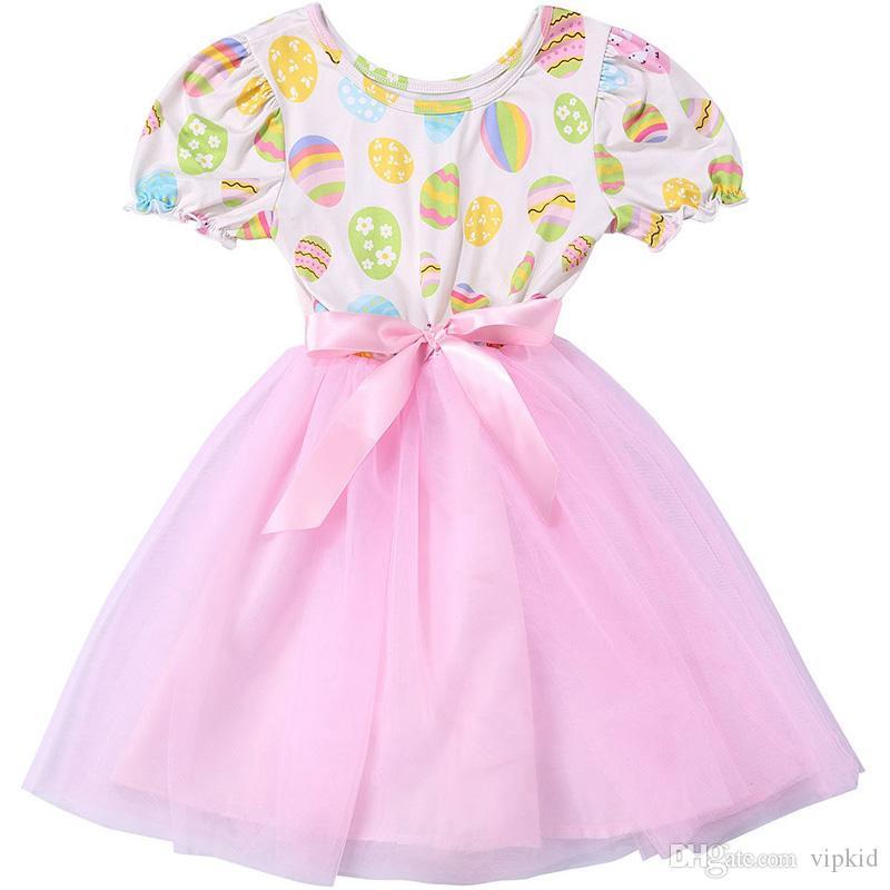 Conejo huevos de 4 colores niña de partido de la princesa del niño vestido de día de Pascua del desfile de vestidos para niños de dibujos animados ropa de la muchacha B1
