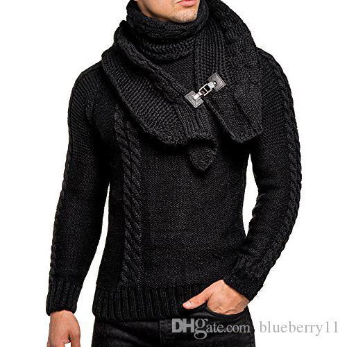 Männer lange Hülsen-dünne Rundhals Pullover Abnehmbare Leder Buckle Bib Solid Color Pattern Mens Sweater